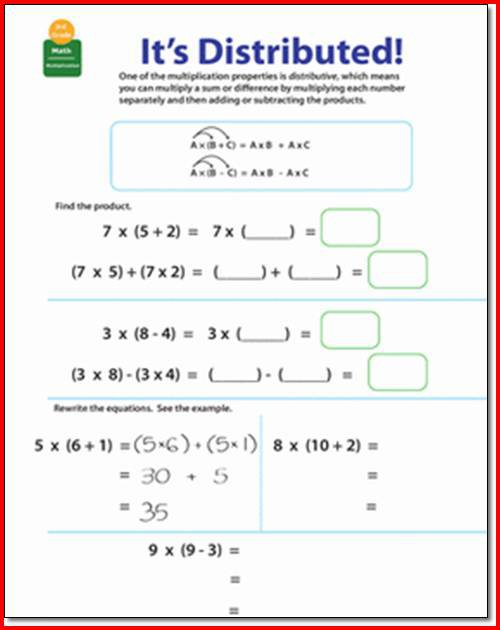 Distributive Property Worksheets 3rd Grade