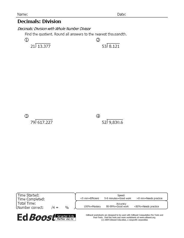 Dividing Decimals By Whole Numbers Worksheet Dividing Decimals