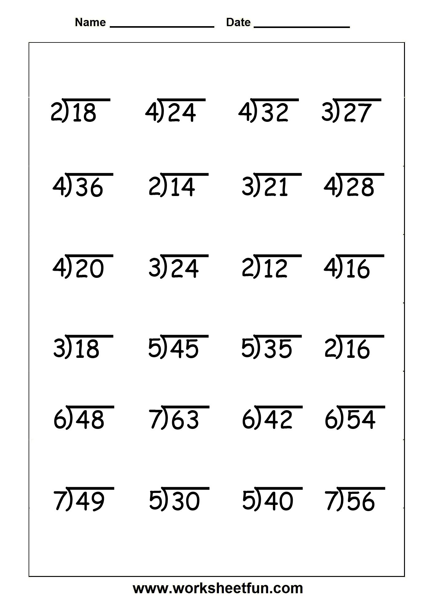 Division Worksheet Level 5