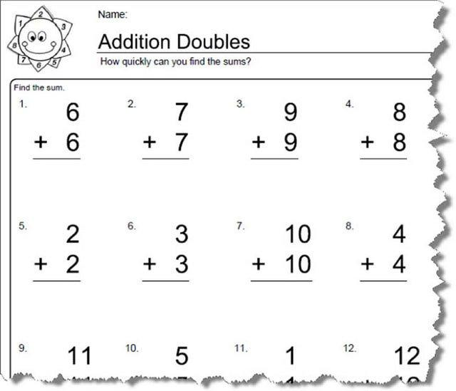 Doubles Multiplication Worksheets