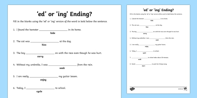 Ed Or Ing Ending Worksheet