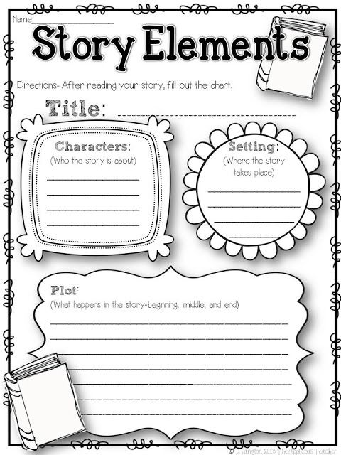 Elements Of A Story Worksheet The Applicious Teacher Five For