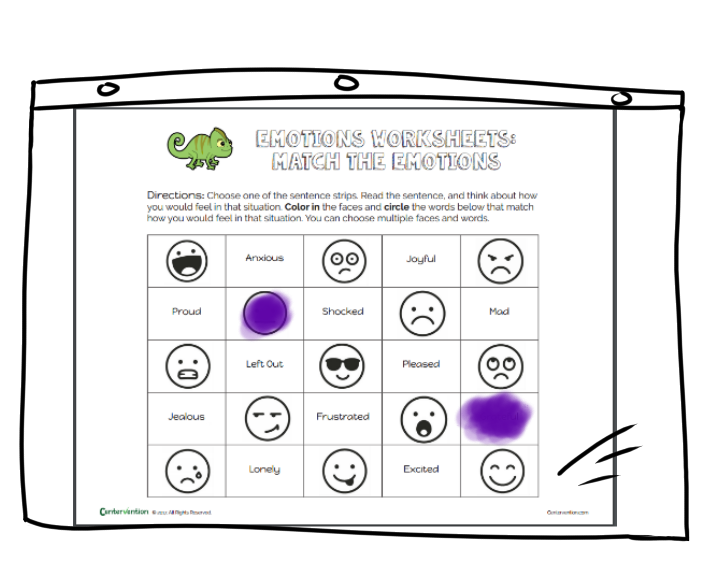 Emotions Worksheet  Match The Emojis