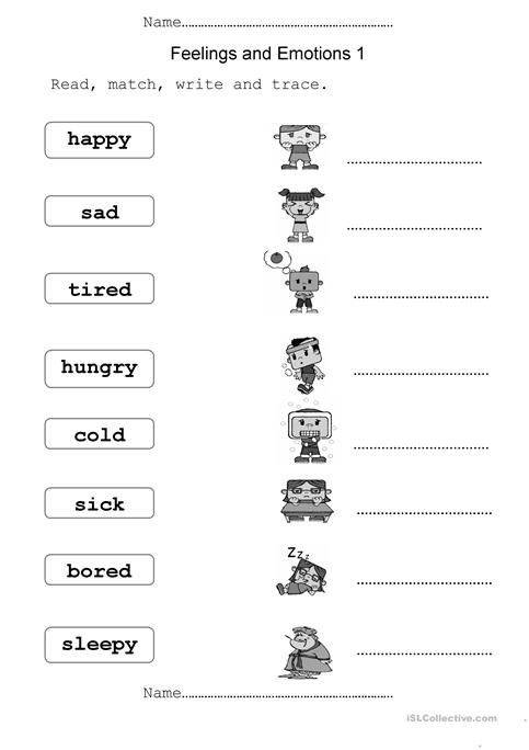 Emotions Worksheets Feelings And Emotions Worksheet Free Esl