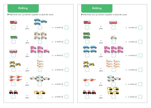 Endearing Reception Maths Worksheets To Print Also Vehicle Themed