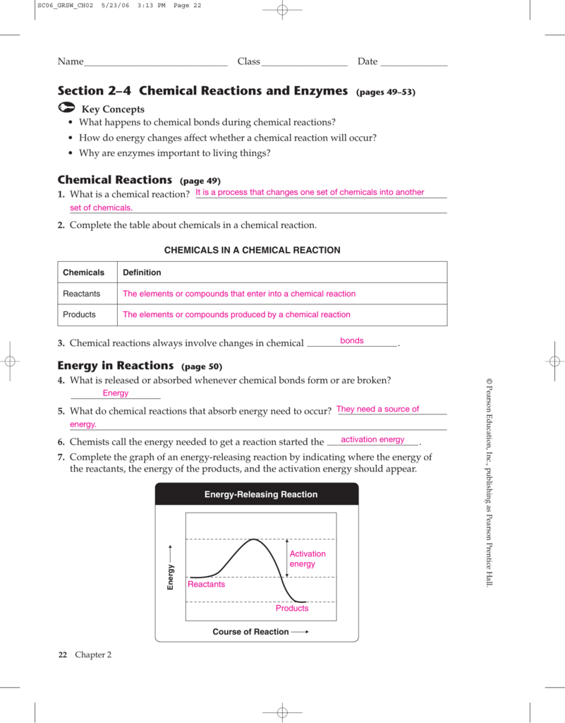 Energy Changes In Chemical Reactions Worksheet Answers The Best