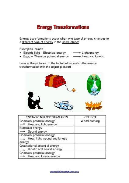 Energy Transformation Worksheet Energy Conversion Worksheets 6th