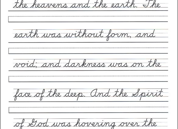 English Handwriting Worksheets Scripture Character Writing