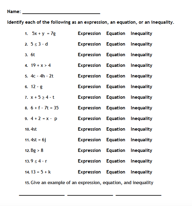 Equations And Inequalities Worksheet Math Worksheets On Equations