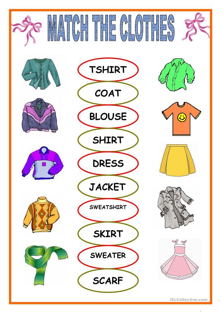 Esl Kindergarten Clothing Worksheets 289778