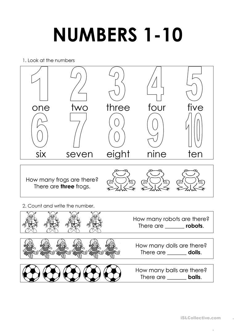 Esl Number Worksheet