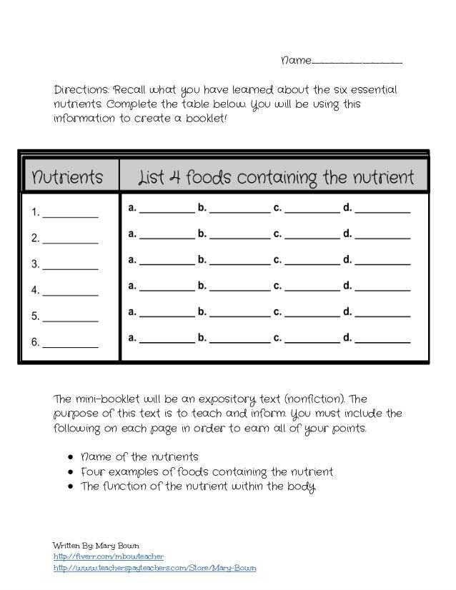 Essential Nutrients Worksheets