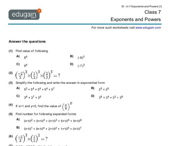 Exponents And Powers Worksheets For Class 7