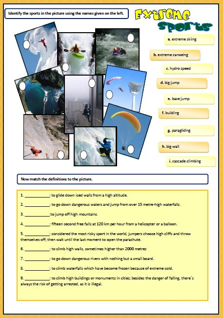 Extreme Sports Worksheet