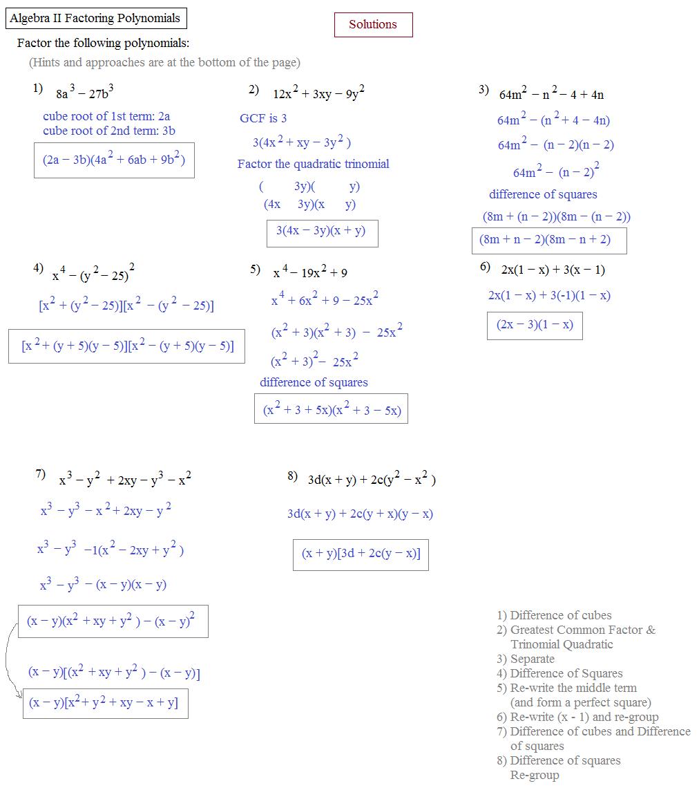 Factoring Worksheet Algebra 2 The Best Worksheets Image Collection
