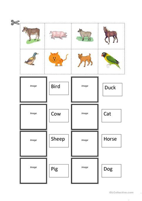 Farm Animals Cut And Paste Worksheet