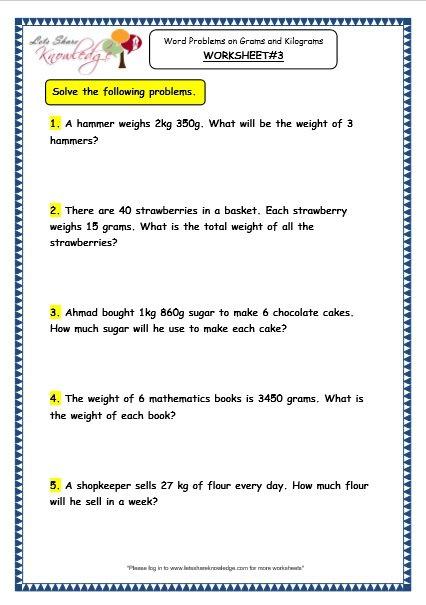 Fascinating Maths Worksheet Grade 3 Word Problem For Grade 3 Maths