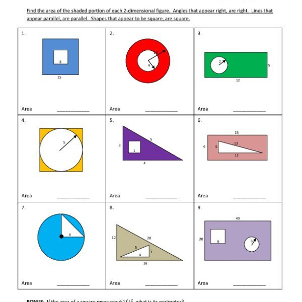 Fifth Grade Area – Shaded Region Worksheet 05 – One Page Worksheets