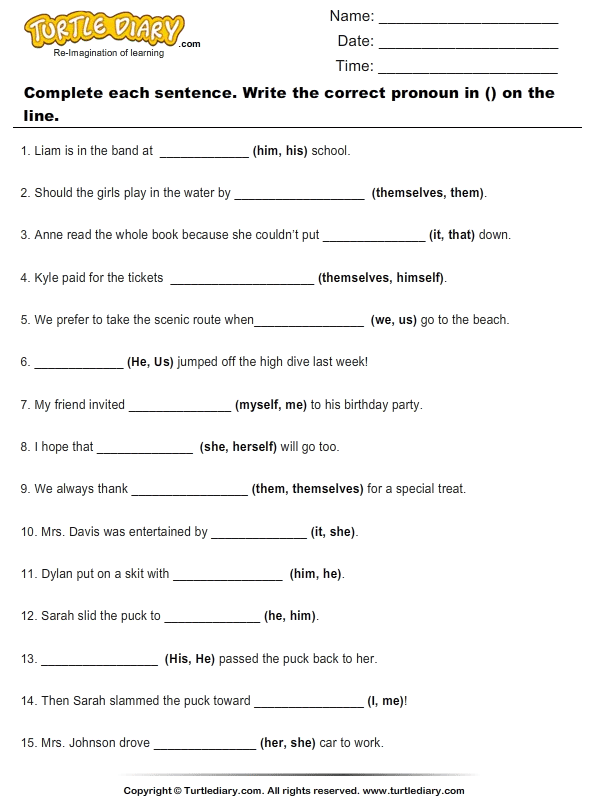 Fill Blanks With Suitable Pronoun Worksheet