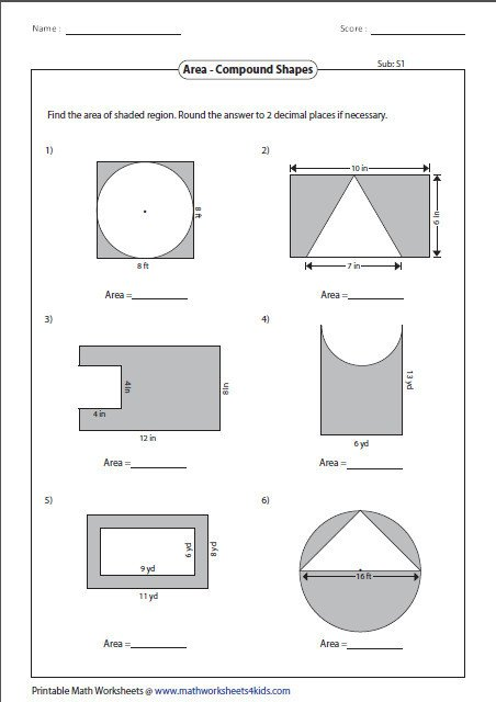 Finding Area Of Shaded Region Worksheet Best Of Area Shapes