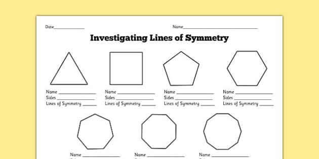 Finding Lines Of Symmetry Worksheet