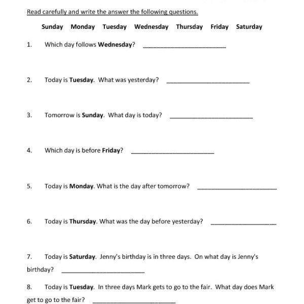 First Grade Days Of The Week Worksheet 05 – One Page Worksheets