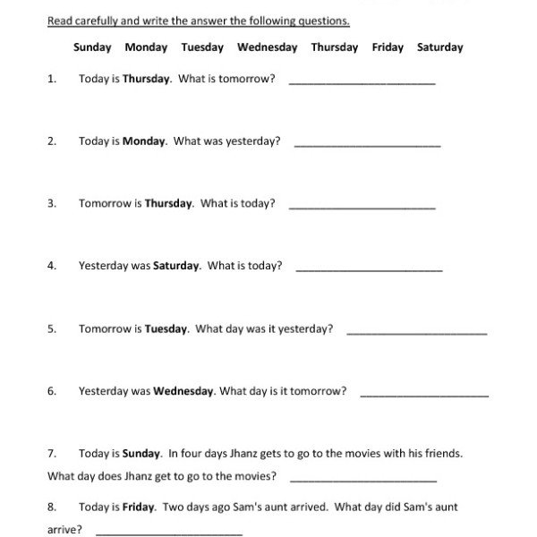 First Grade Days Of The Week Worksheet 06 – One Page Worksheets