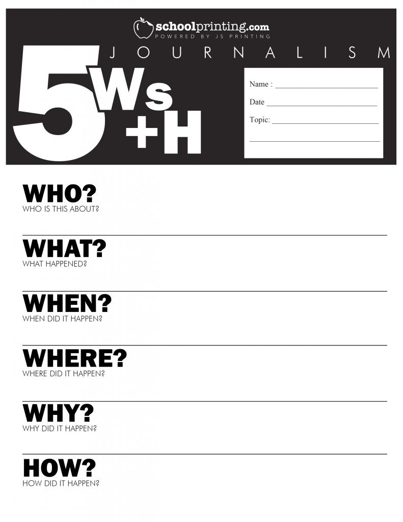 Five W S Worksheet