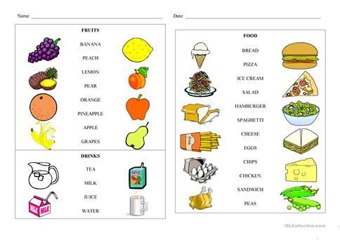 Food And Fruit Matching Worksheet