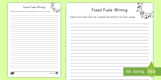 Formation Of Fossil Fuels Writing Worksheet   Activity Sheet