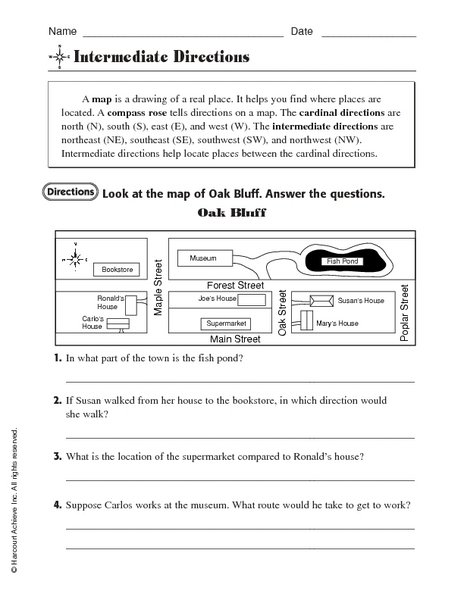 Formidable Worksheets For Cardinal Directions For Your Cardinal
