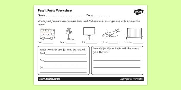 Fossil Fuel Worksheet