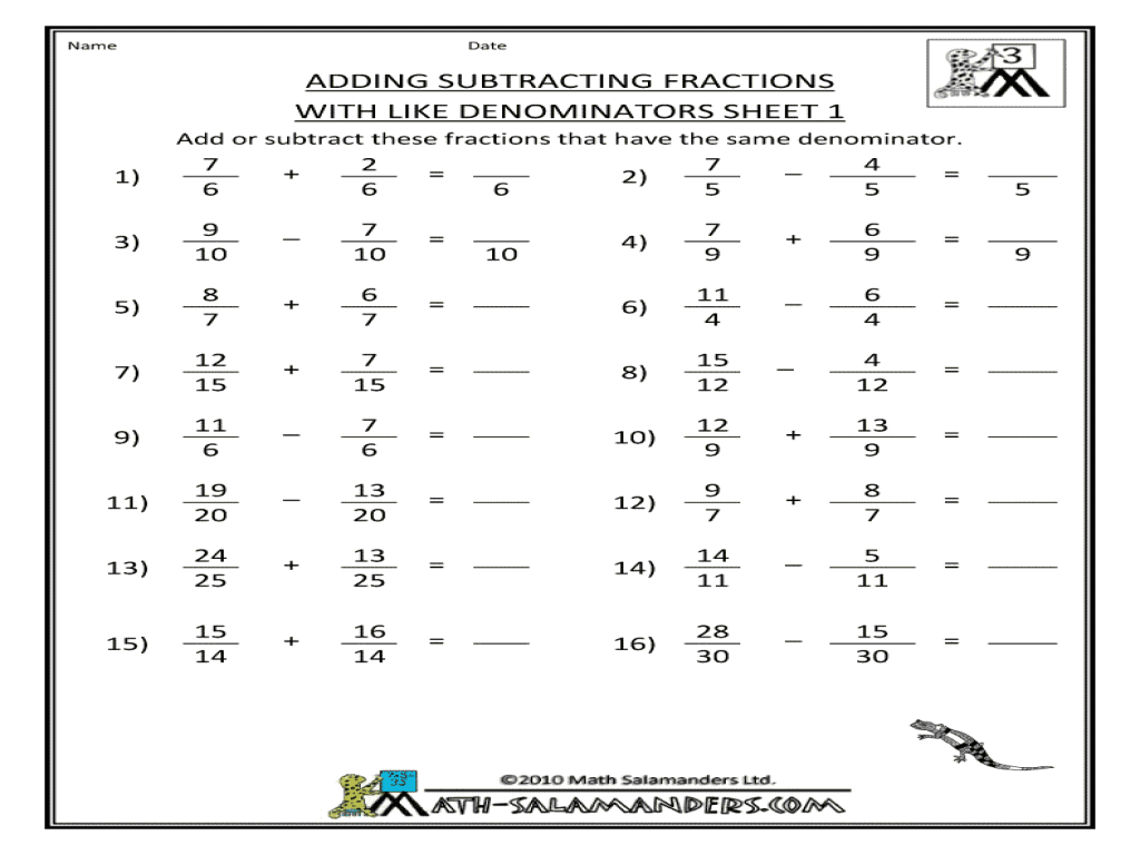 Fractions Worksheets Adding And Subtracting The Best Worksheets