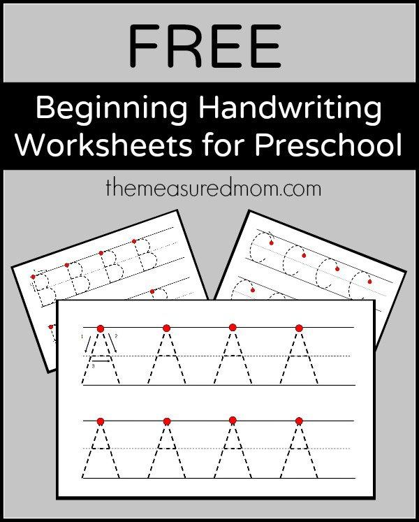 Free Beginning Handwriting Worksheets For Preschool!