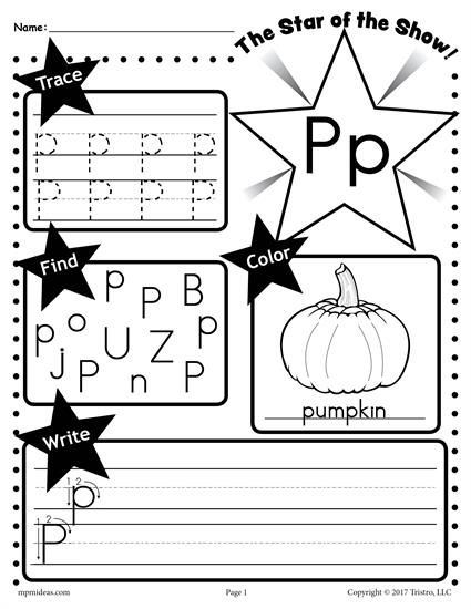 Free Letter P Worksheet  Tracing, Coloring, Writing & More
