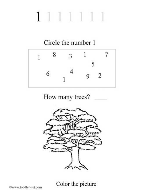 Free Number 1 Worksheet