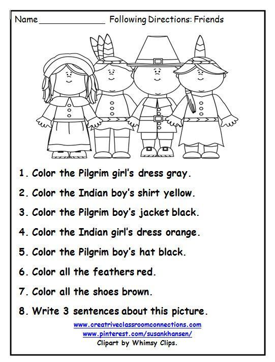 Free Pilgrim Worksheets