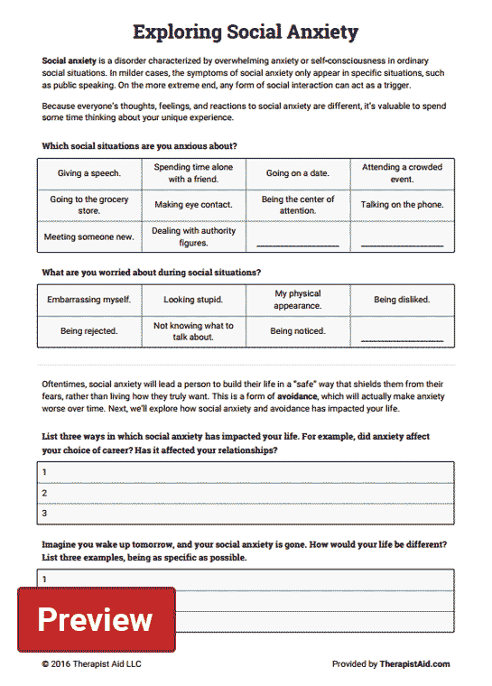 Free Printable Coping Skills Worksheets Exploring Social Anxiety