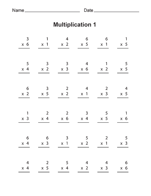 Free Printable Multiplication Worksheets Multiplication Worksheets