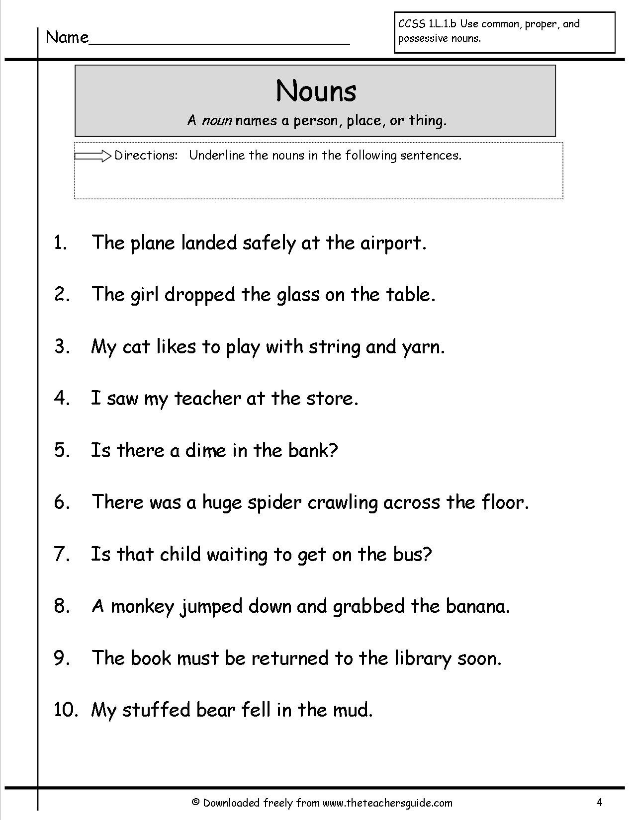 Free Printable Worksheets For Nouns Image Collections