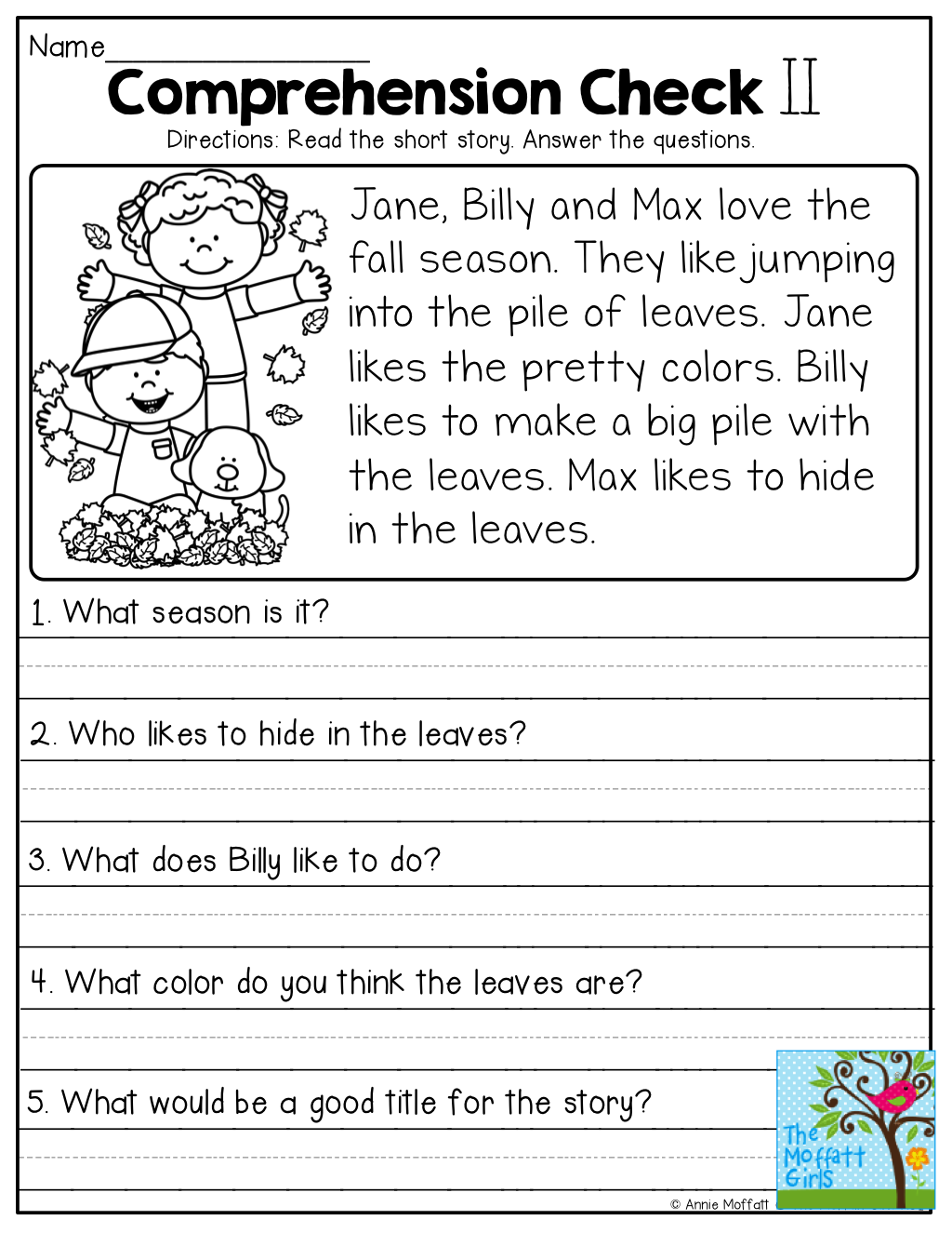 Free Reading Comprehension Sheets