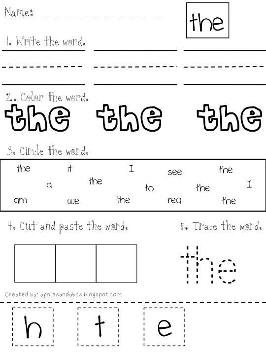 Free Sight Word Worksheets Apples And Abcs Adventures In