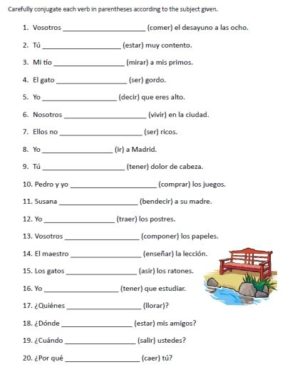 Free Spanish Verb Conjugation Sentences Worksheets Packet On