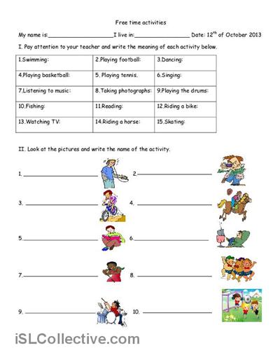 Free Time Activities Worksheet