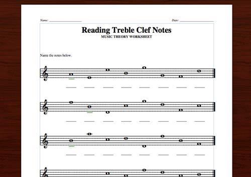 Free Treble Clef Worksheets