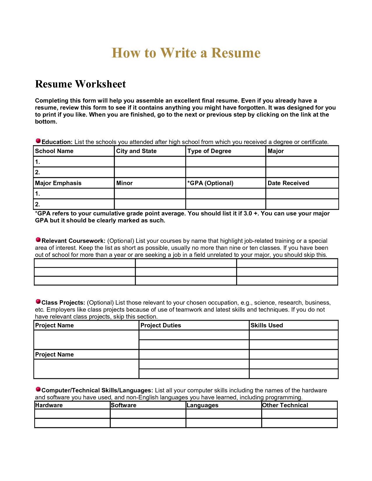 Fresh Ideas Resume Worksheet For High School Students High School