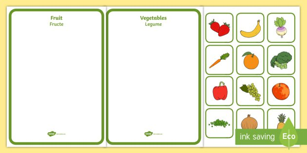 Fruit And Vegetables Sorting Activity Romanian English