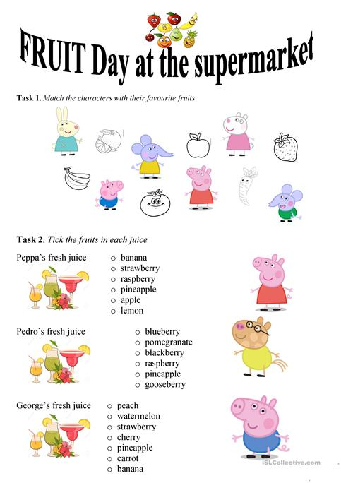 Fruit Day At The Supermarket Worksheet