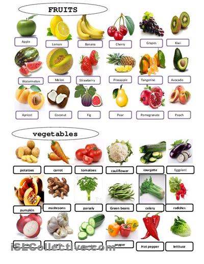 Fruit Or Vegetable Printable Worksheets