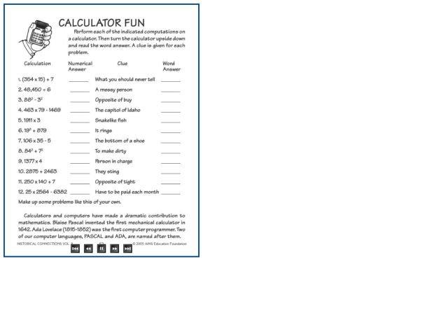 Fun Math Calculator Worksheets